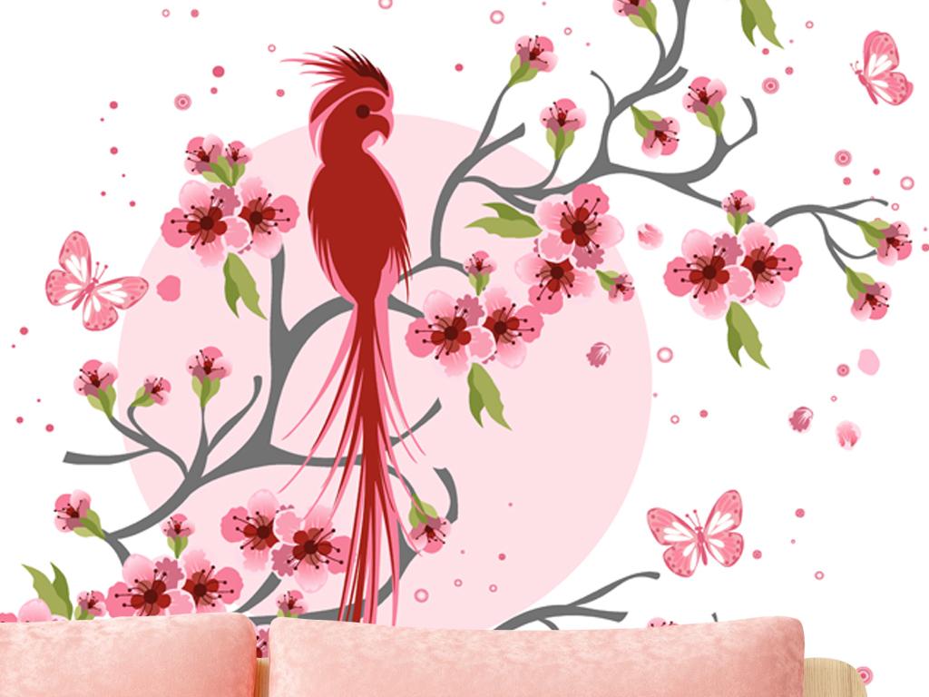 欧式简约花鸟手绘北欧蝴蝶鸟简约花鸟花鸟装饰画装饰