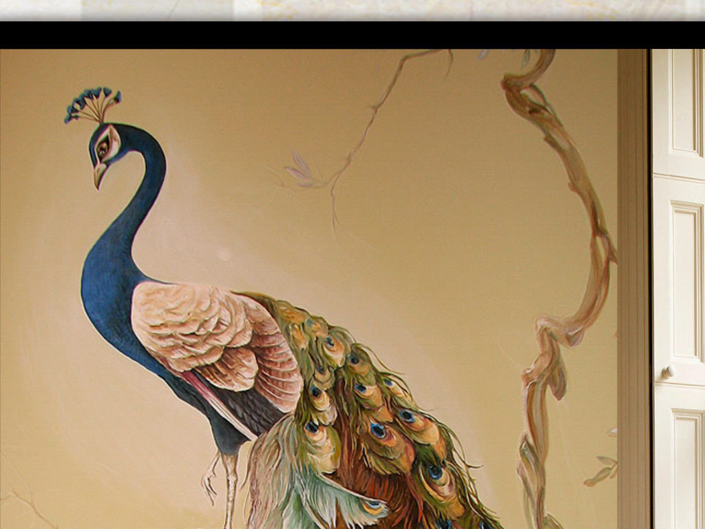 白孔雀油画手绘彩绘笔触壁纸墙纸壁纸家和富贵装饰画门厅过道隔断工笔