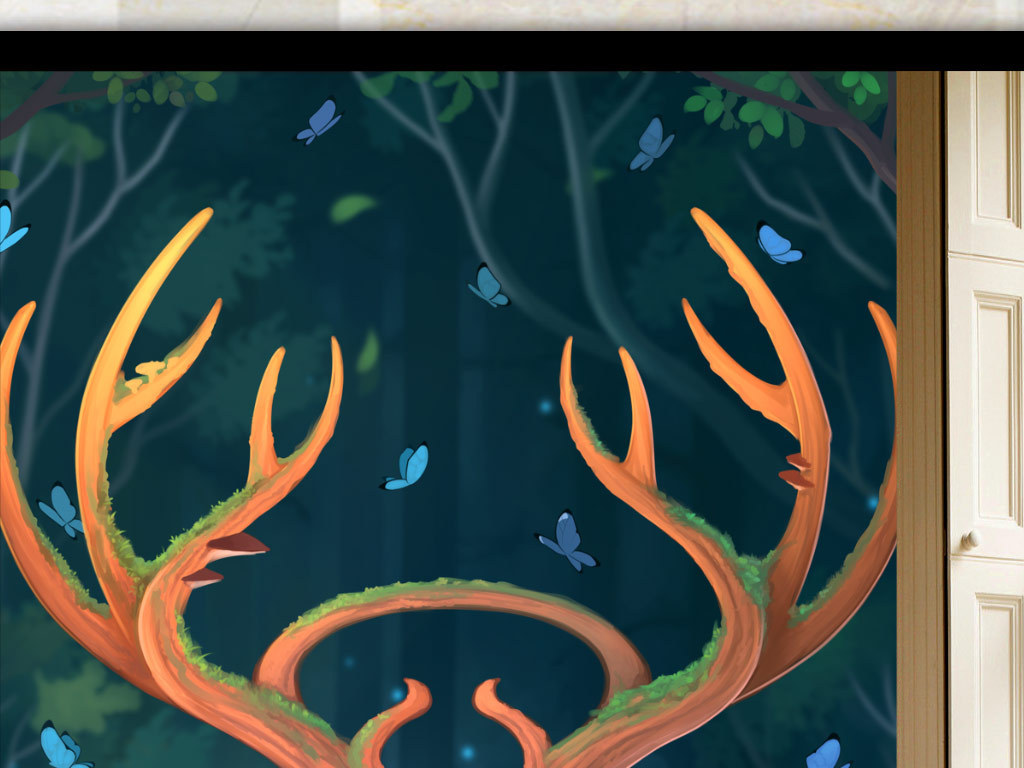 鹿角鹿蝴蝶                                  创意手绘