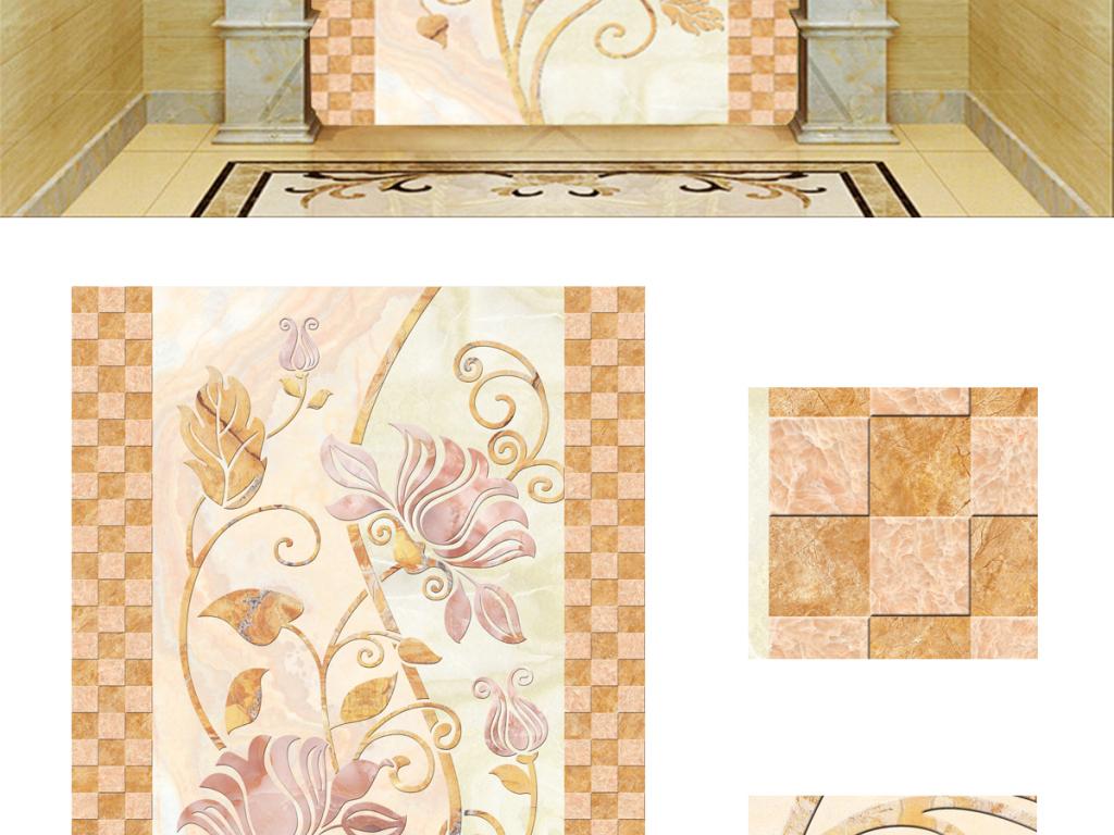 欧式简约花纹图案玄关背景墙