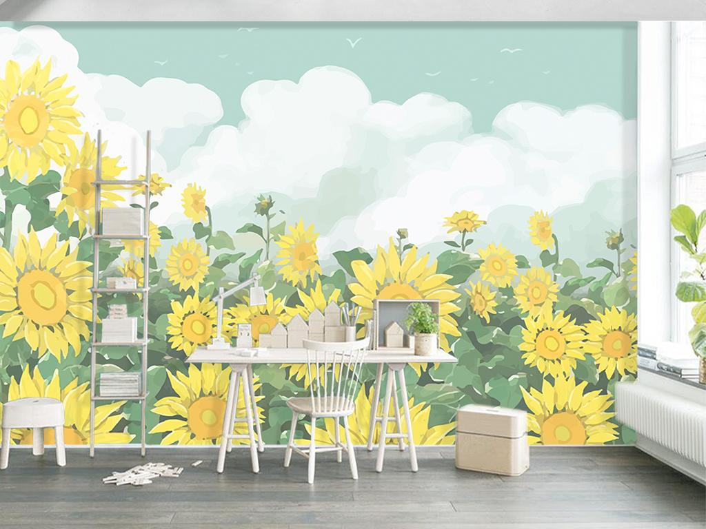 背景墙|装饰画 电视背景墙 手绘电视背景墙 > 北欧手绘向日葵花丛客厅