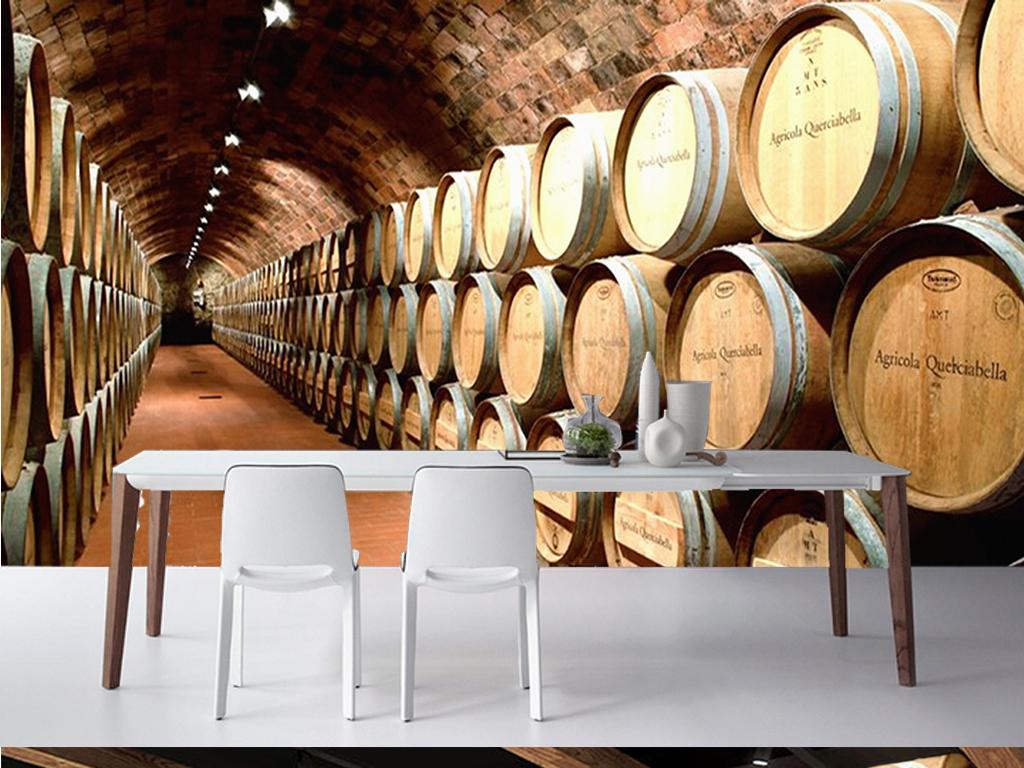 欧式复古酒窖隧道客厅工装背景墙
