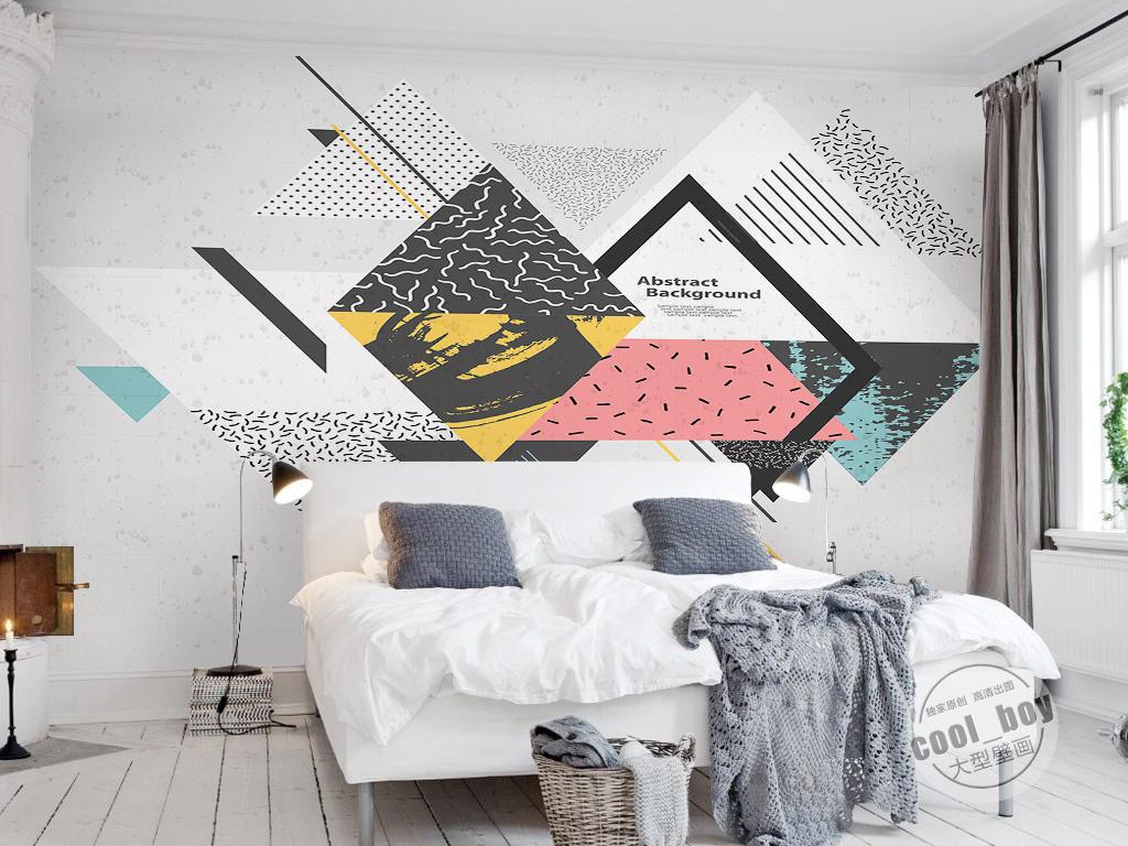 现代简约时尚北欧几何三角形抽象图案背景墙图片