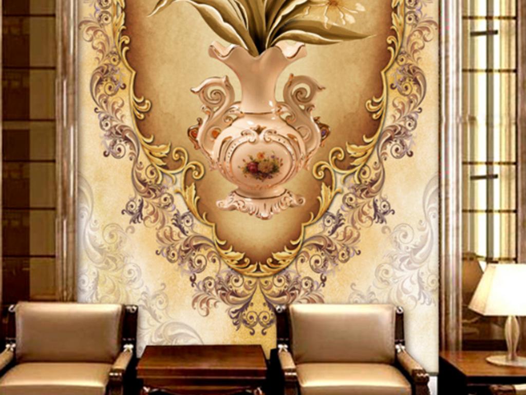 欧式手绘高端玄关背景墙