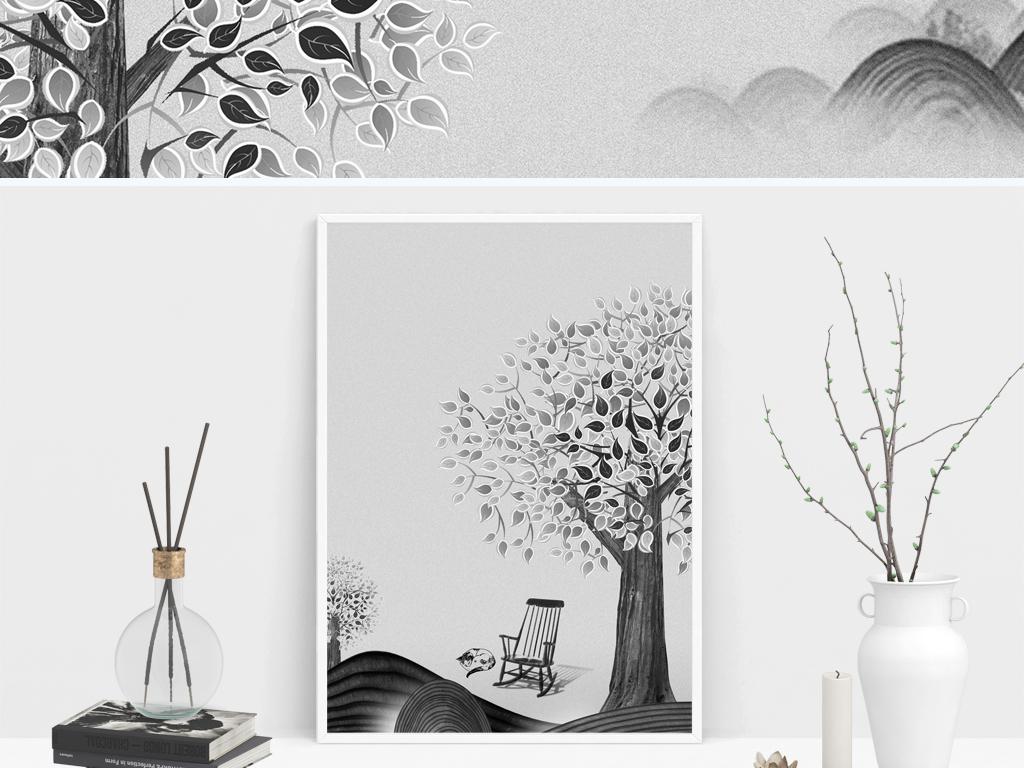 新中式唯美装饰画中国风发财树简约黑白图片