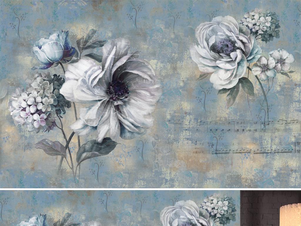 复古油画背景墙抽象手绘油画复古手绘花欧式图片