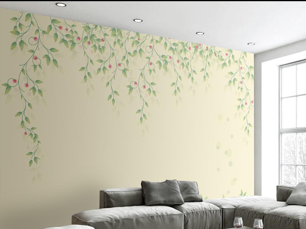 手绘简约花卉背景墙