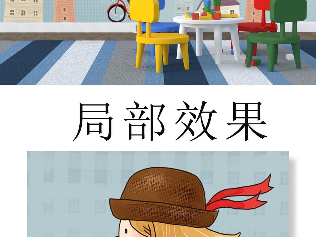 手绘墙壁儿童房壁纸儿童房墙纸儿童房挂画儿童房背景儿童房装饰儿童房