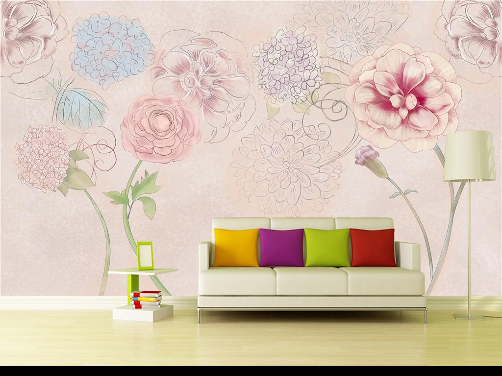 简欧风格温馨唯美浪漫手绘粉色花朵背景墙