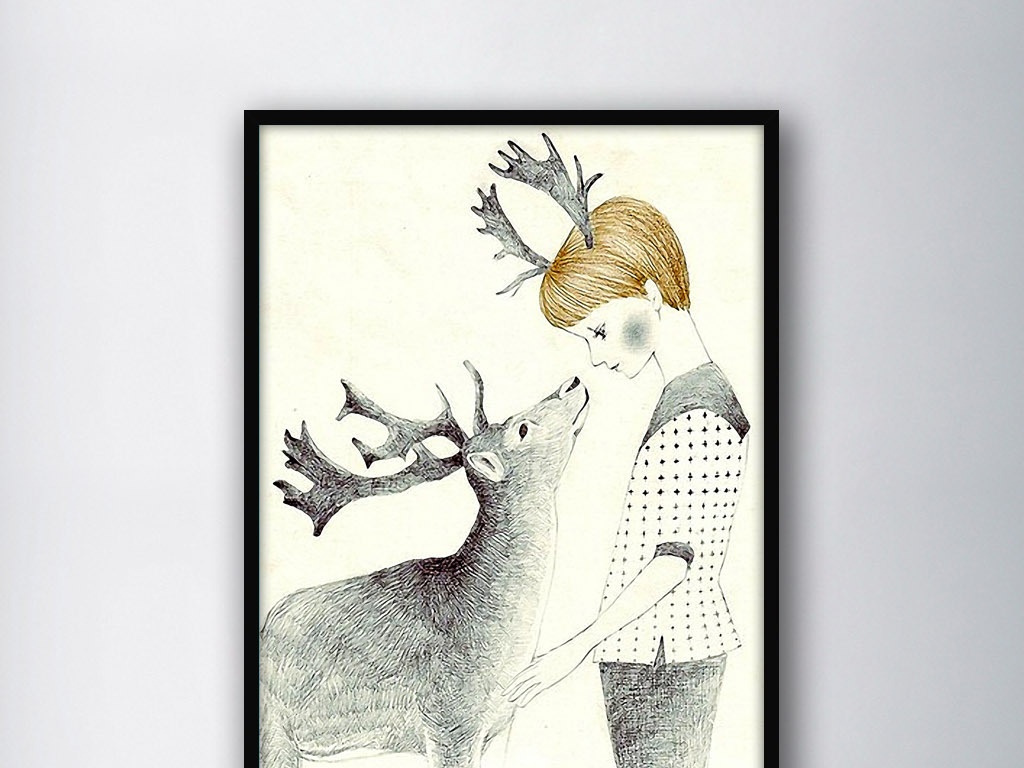麋鹿男孩手绘黑白现代室内装饰水彩画