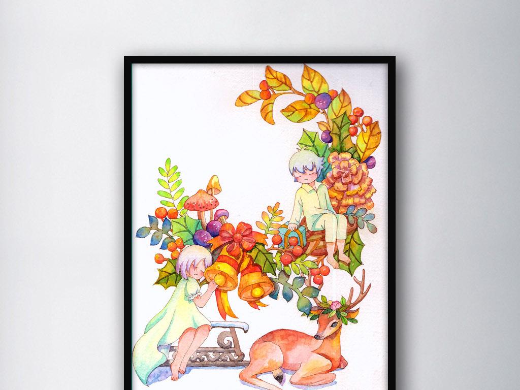 可爱北欧圣诞节麋鹿手绘水彩室内装饰画