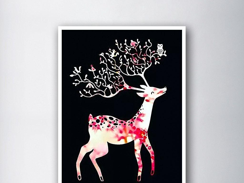 麋鹿和小动物们手绘水彩画欧式装饰画