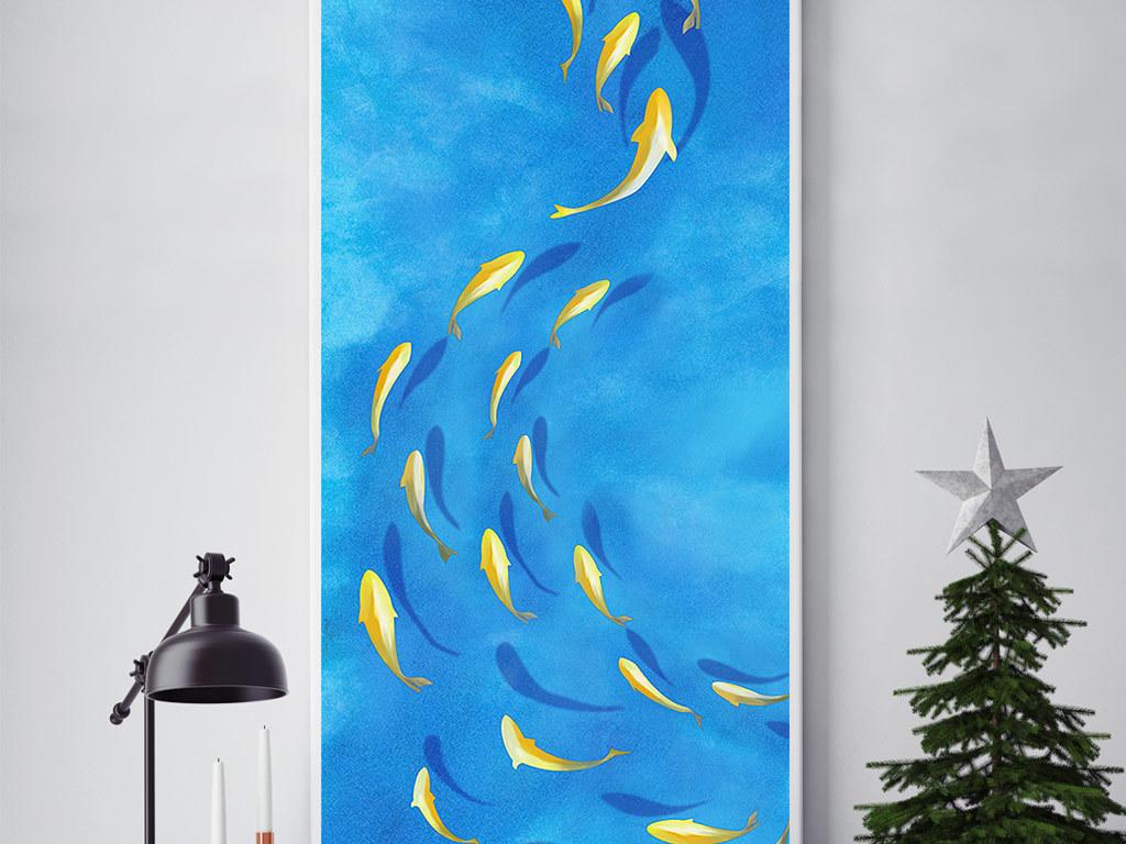 力争上游3d立体手绘金鱼无框画
