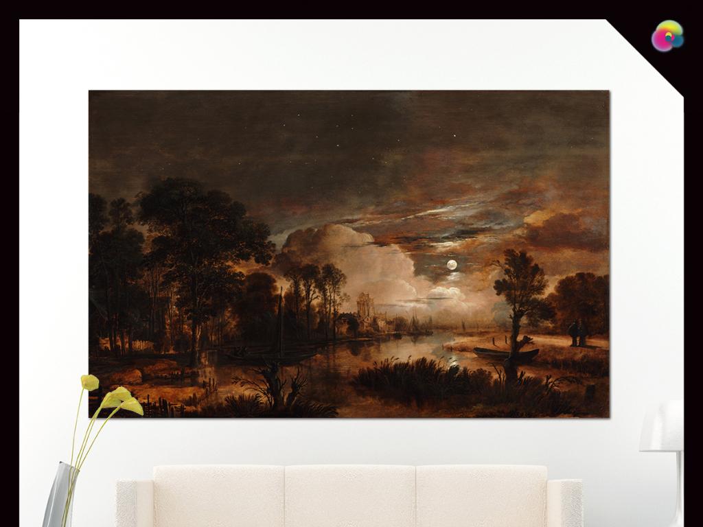 高清手绘复古欧式怀旧风景油画装饰画