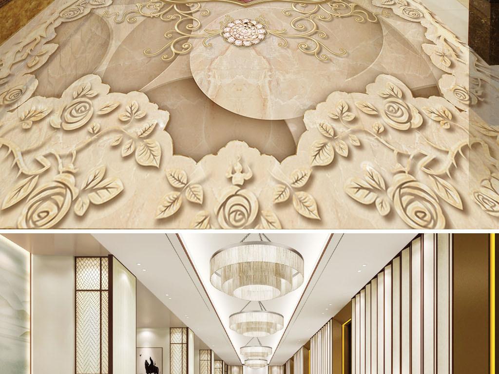 欧式复古花纹大理石纹3d地板地砖图片