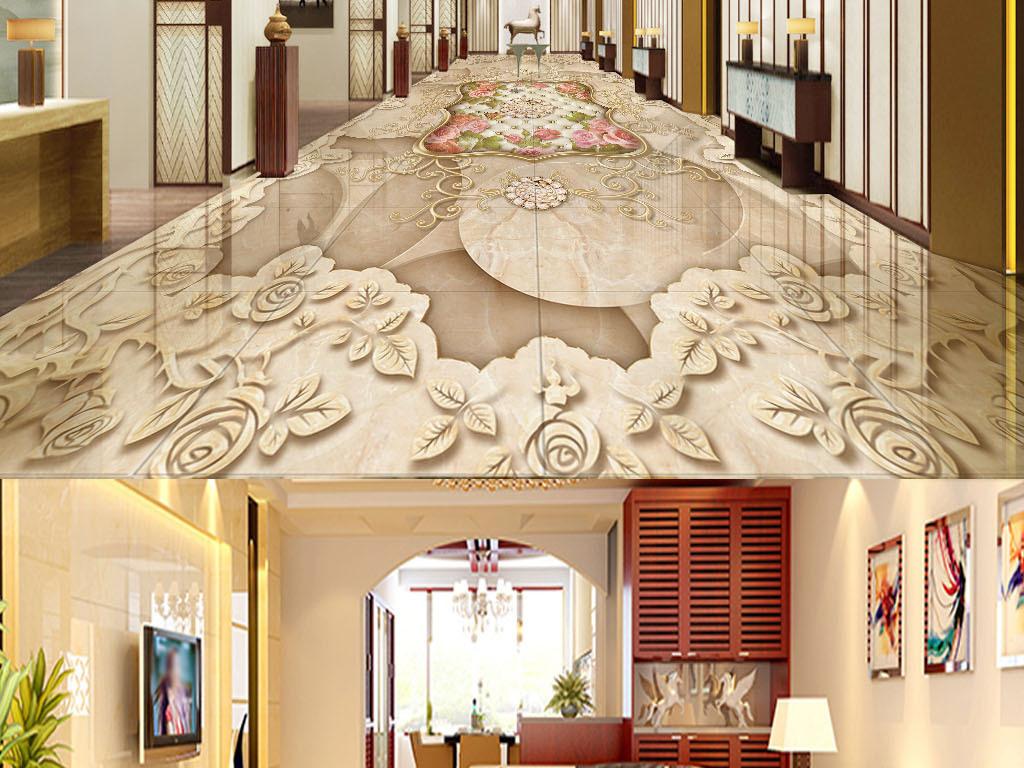 欧式复古花纹大理石纹3d地板地砖