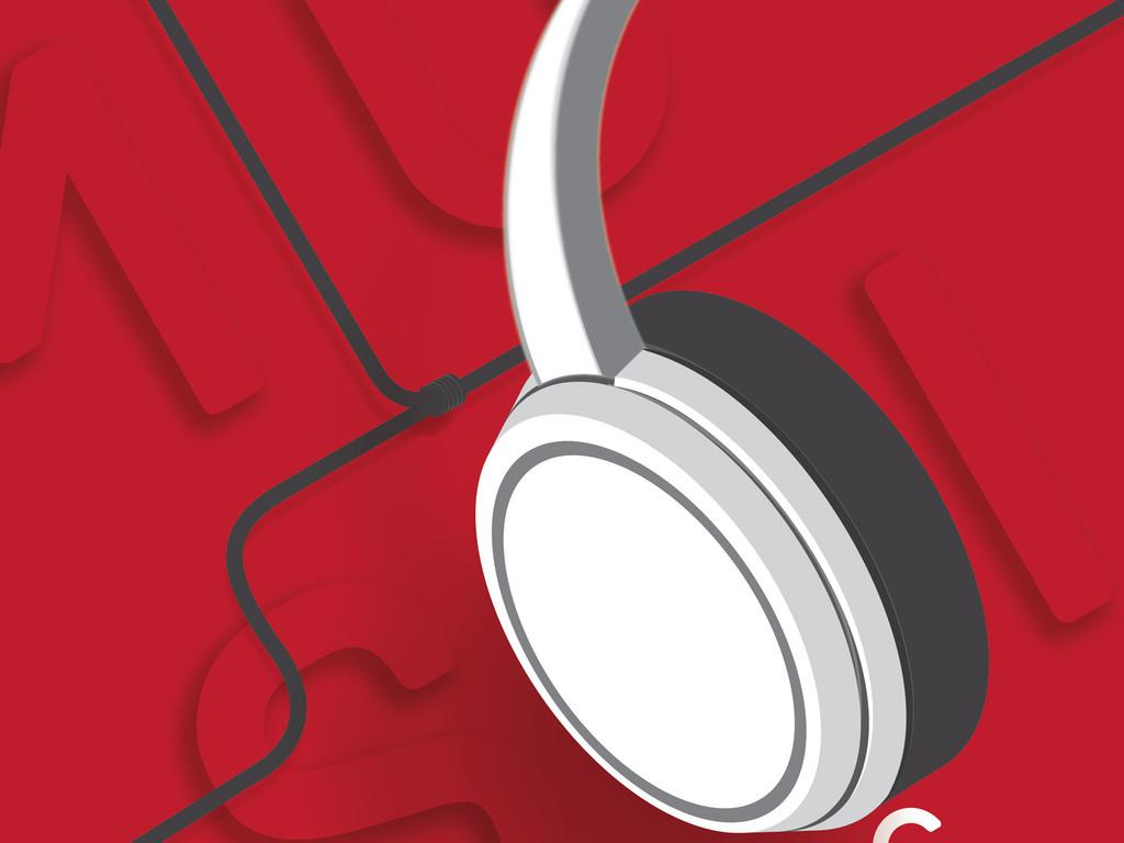 红色手绘线条耳机创意海报psd模板