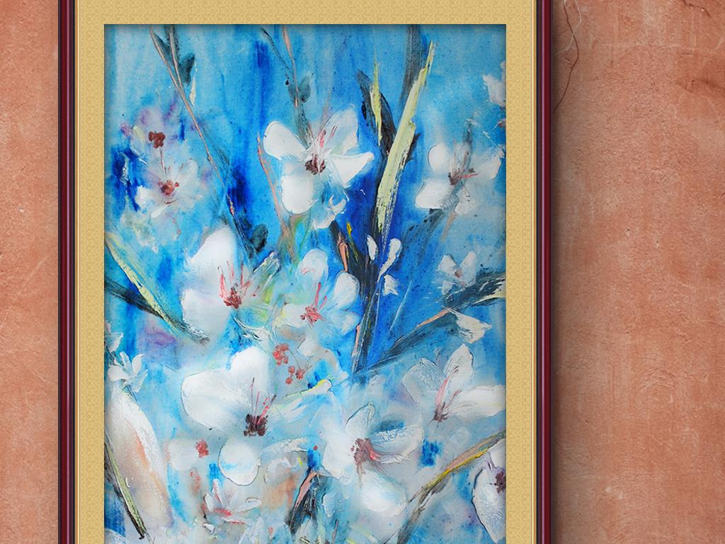 欧式简约花鸟手绘鸟古典新中式油画梦幻花卉白色花卉