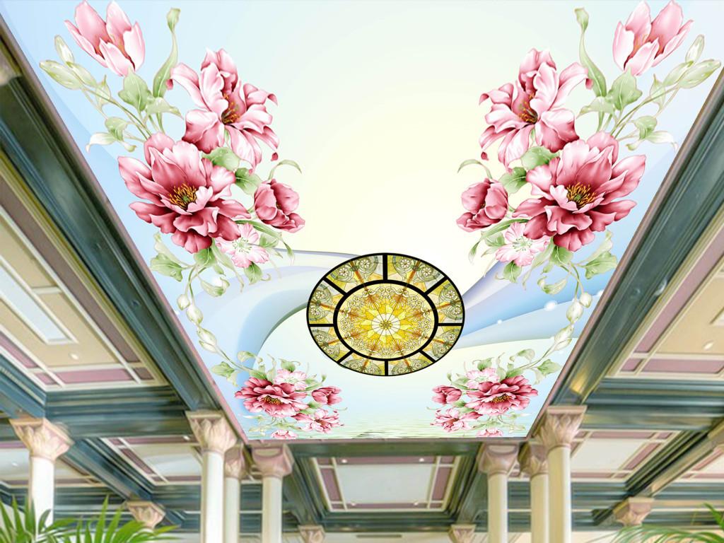 3d手绘牡丹天花吊顶壁画