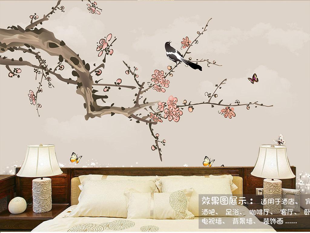 背景墙|装饰画 电视背景墙 中式电视背景墙 > 手绘工笔梅花花鸟背景墙