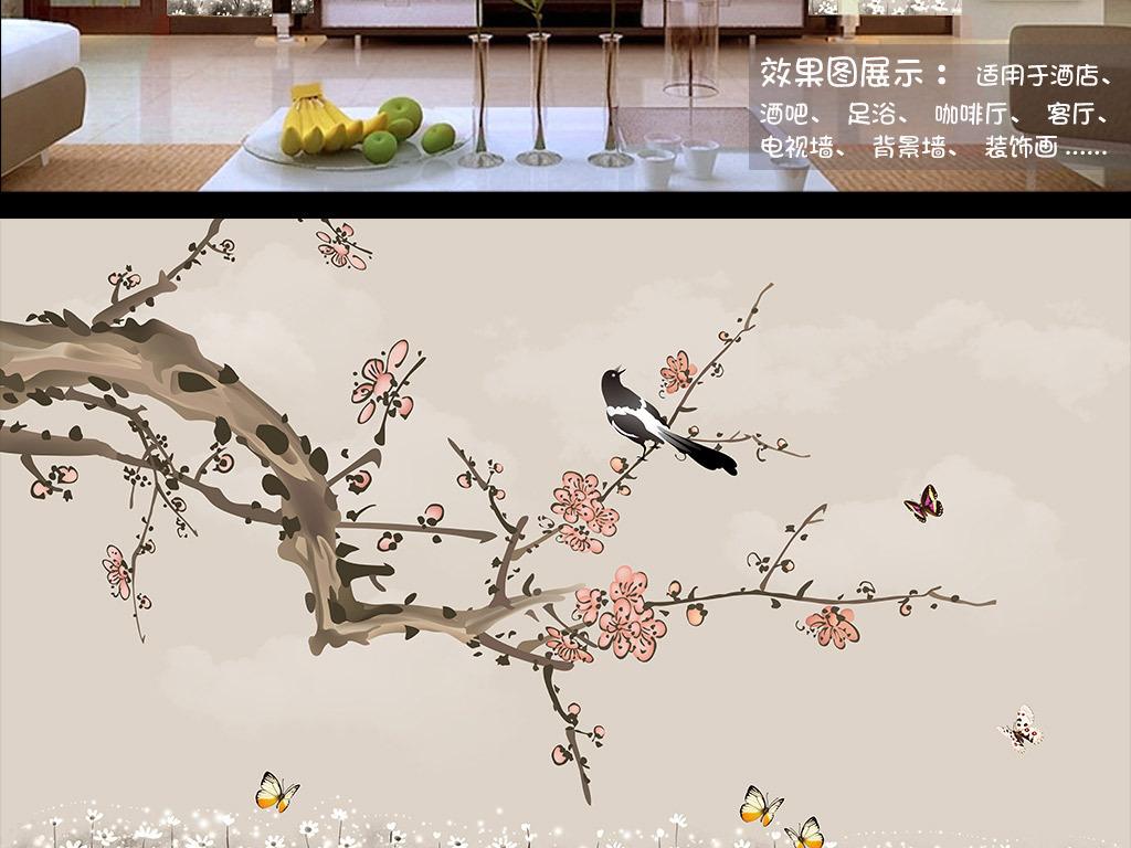 手绘工笔梅花花鸟背景墙装饰画图片