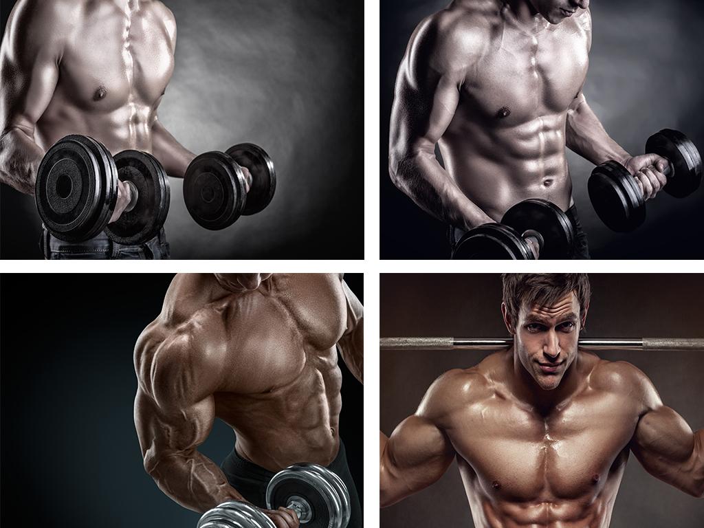 时尚健身肌肉男照片墙工装背景墙