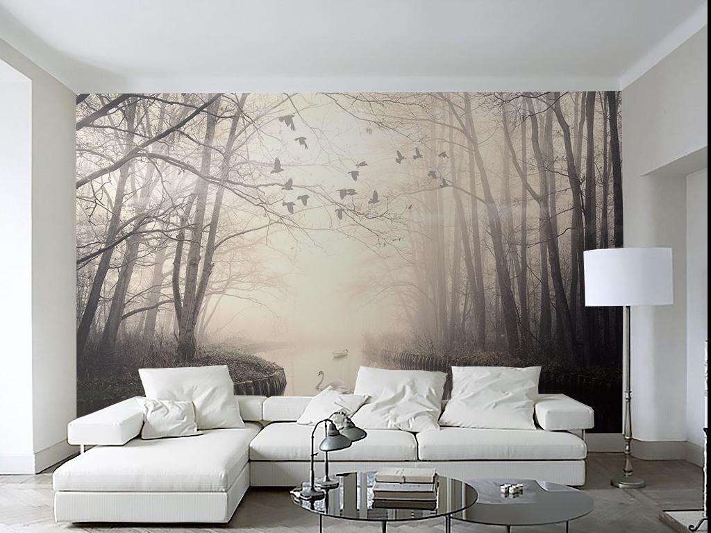 北欧装饰画河流北欧森林装饰画北欧手绘人物手绘背景手绘墙手绘背景墙