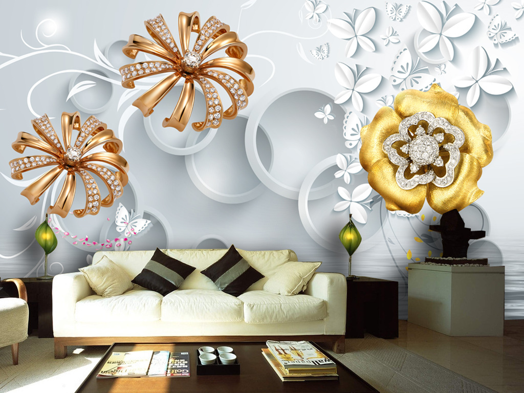 3d欧式宫廷风金色珠宝花朵电视背景墙
