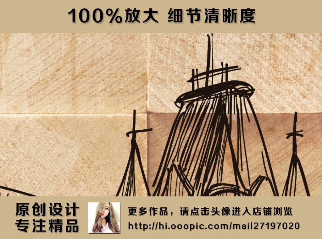 复古怀旧木头背景艾菲尔铁塔欧式背景墙