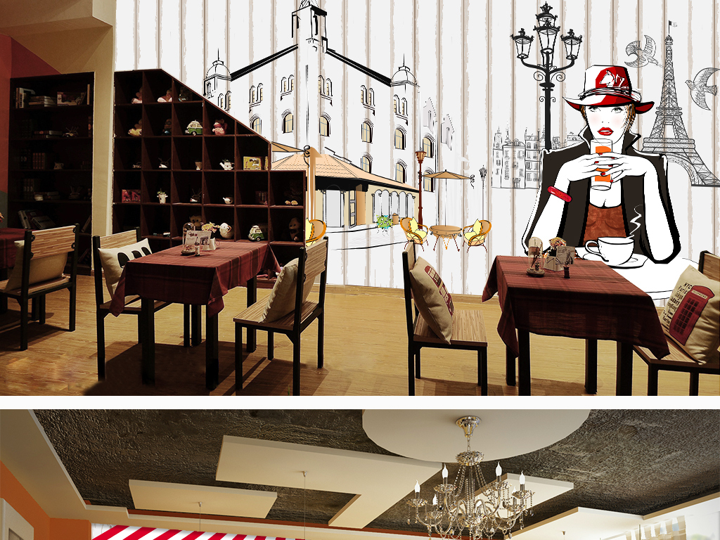 餐饮背景墙西点屋背景蛋糕店背景墙甜品屋背景手绘