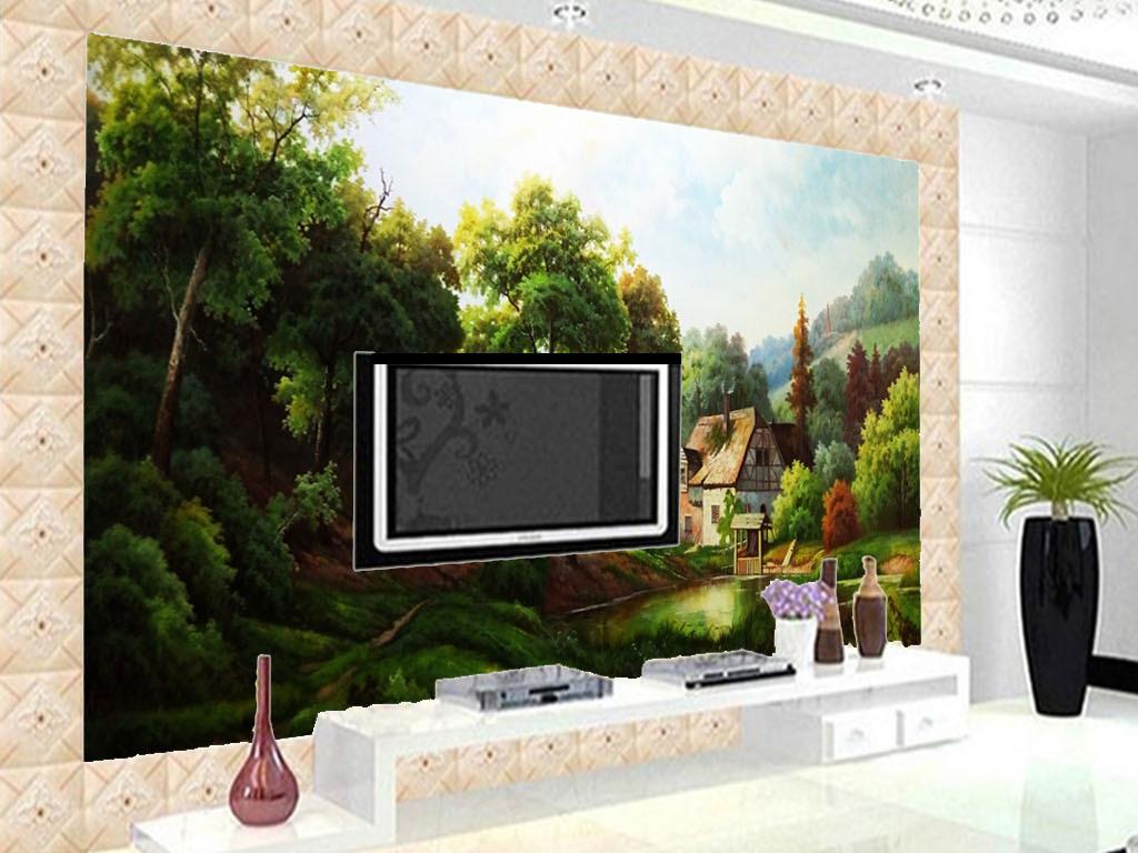 电视背景墙 油画|立体油画电视背景墙