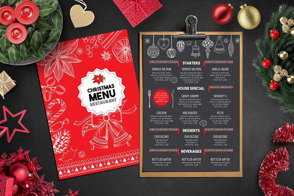 圣诞节手绘海报贺卡酒水单点餐牌