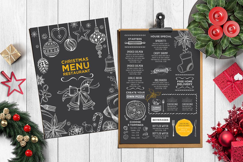 圣诞节手绘菜单咖啡店酒水单圣诞贺卡海报