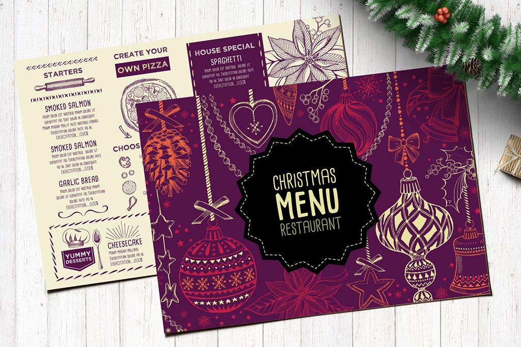 圣诞节手绘贺卡传单海报点餐牌设计