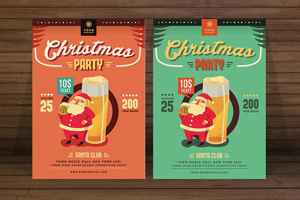手绘插画圣诞节啤酒海报传单设计