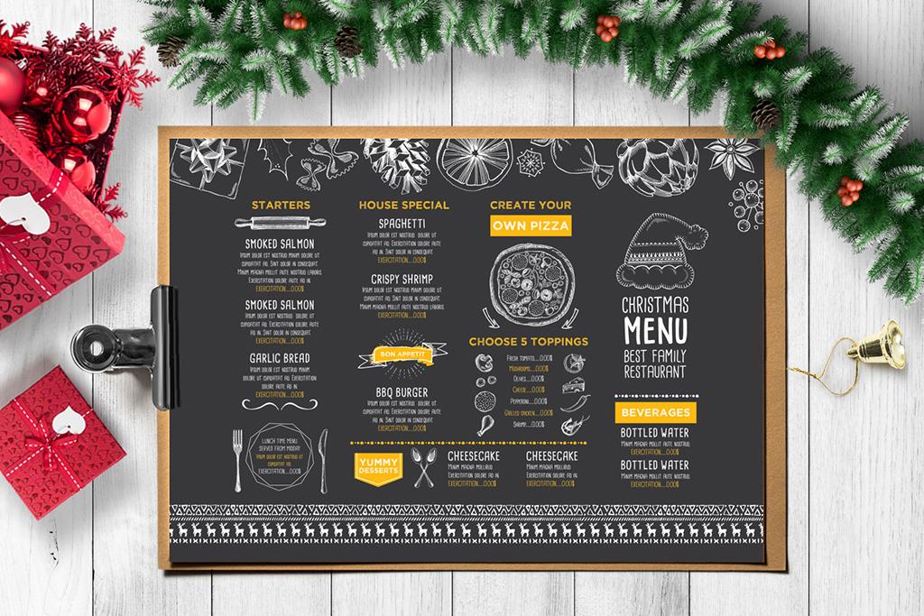 菜单菜牌手绘贺卡传单广告素材圣诞节手绘素材披萨咖啡厅点餐牌圣诞节