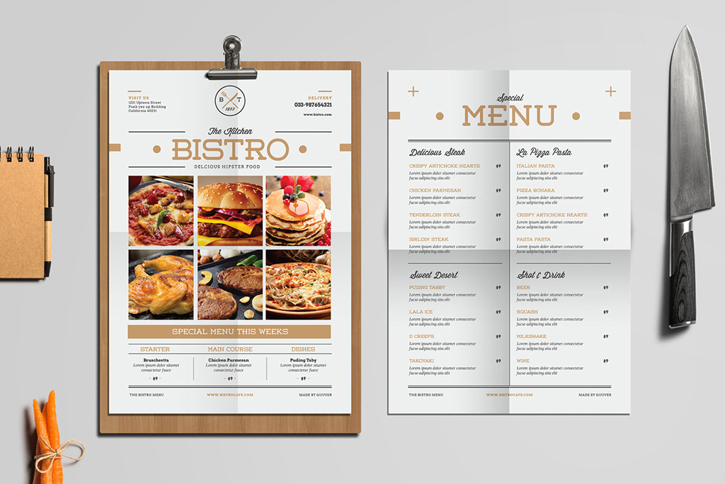 西餐厅菜单                                  中餐厅菜单手绘