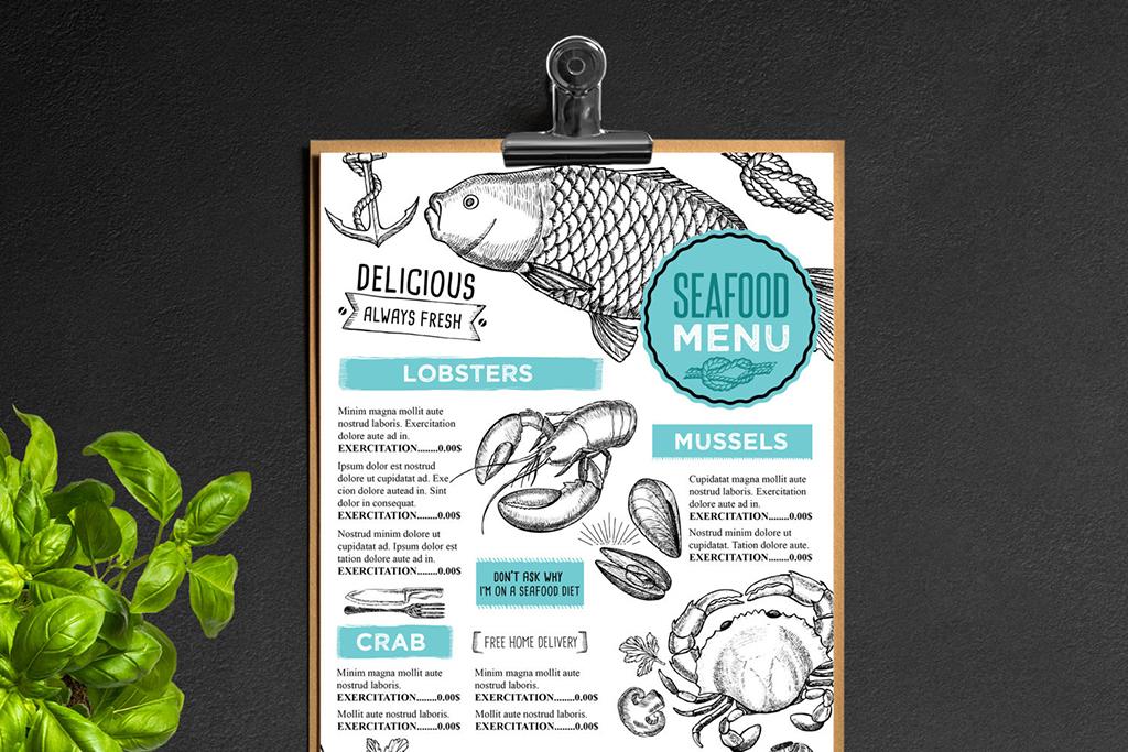 手绘英文菜单圣诞节菜单中西餐海报传单菜单设计西餐菜单设计西餐菜单
