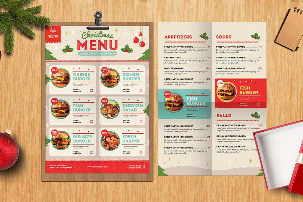 手绘英文菜单圣诞节菜单中西餐海报传单菜单西餐菜牌汉堡菜单菜单设计