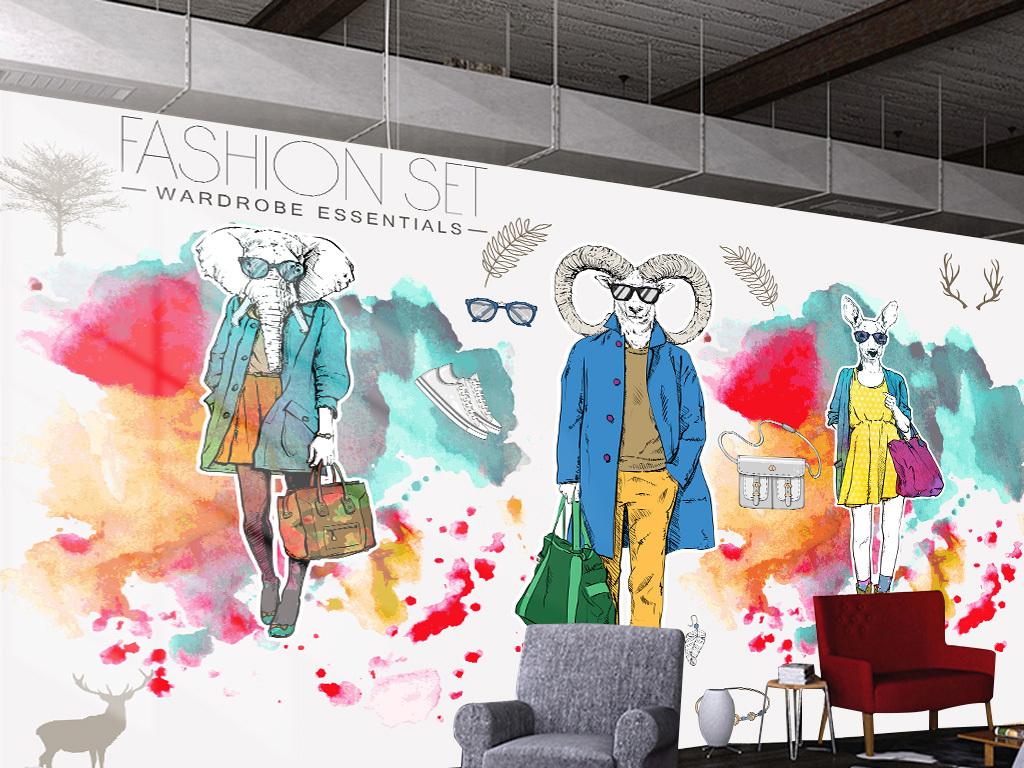 个性手绘彩色动物服装店咖啡厅背景装饰墙