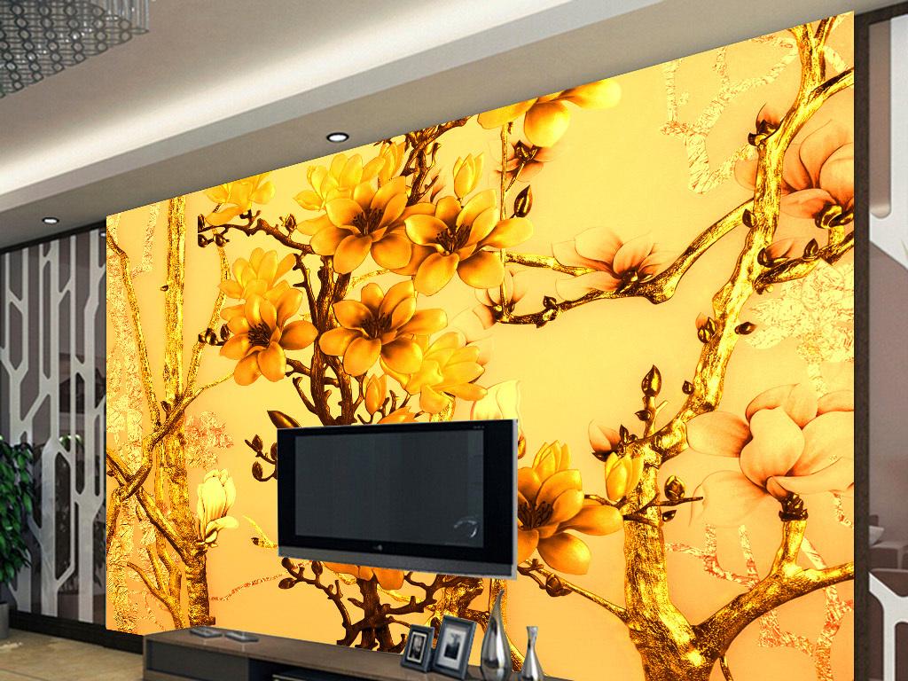 3d风水欧式丝绸背景墙