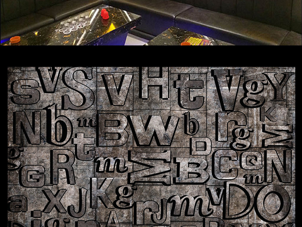 3d立体英文字母工业背景墙