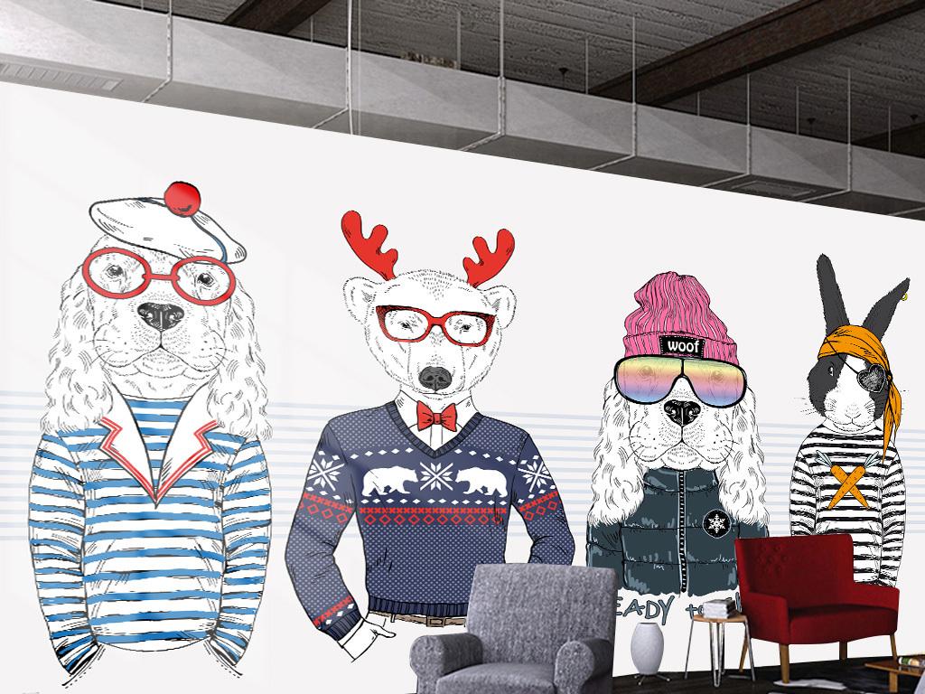 狼                                  狮子眼镜主题餐厅服装店狗手绘