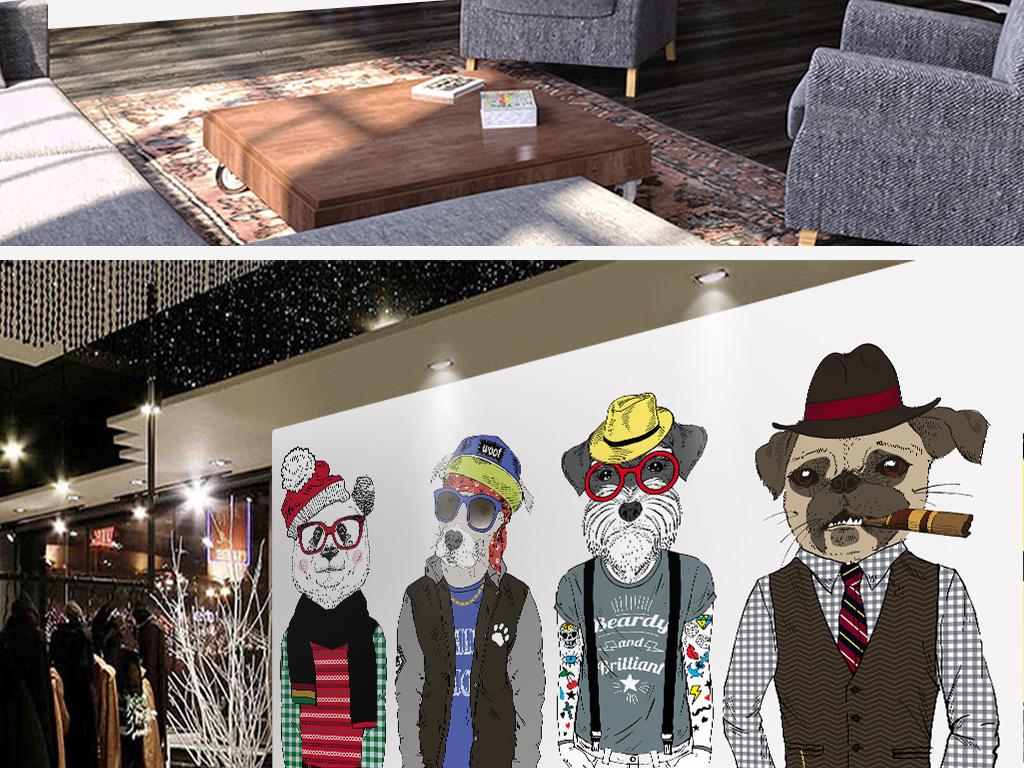 个性手绘动物冬装服装店咖啡厅工装背景墙