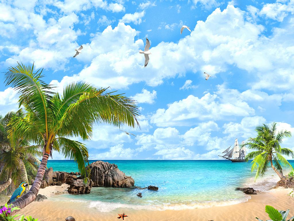 蓝天白云海边椰树风景背景画