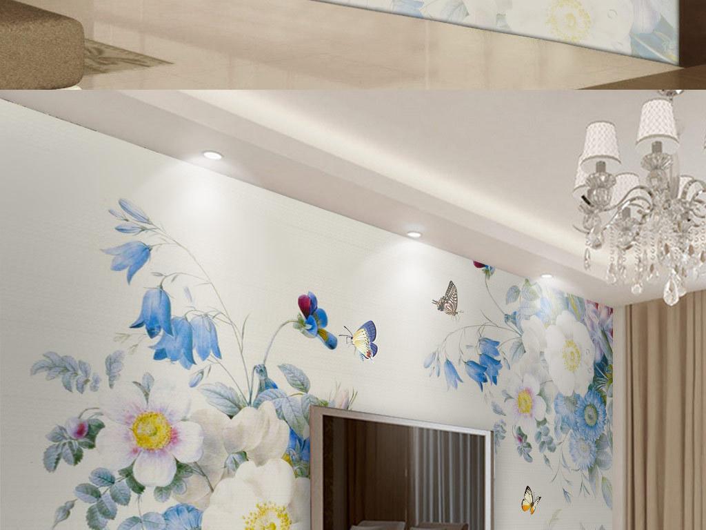 手绘复古玫瑰花电视背景墙(图片编号:15813754)