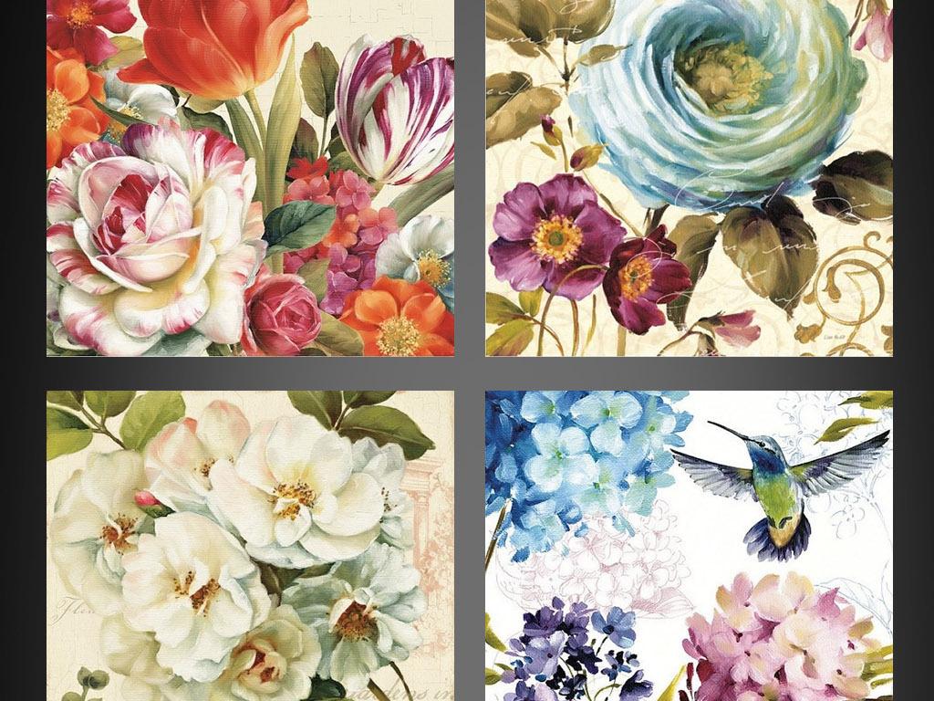 欧式复古花卉装饰画无框画花鸟壁画