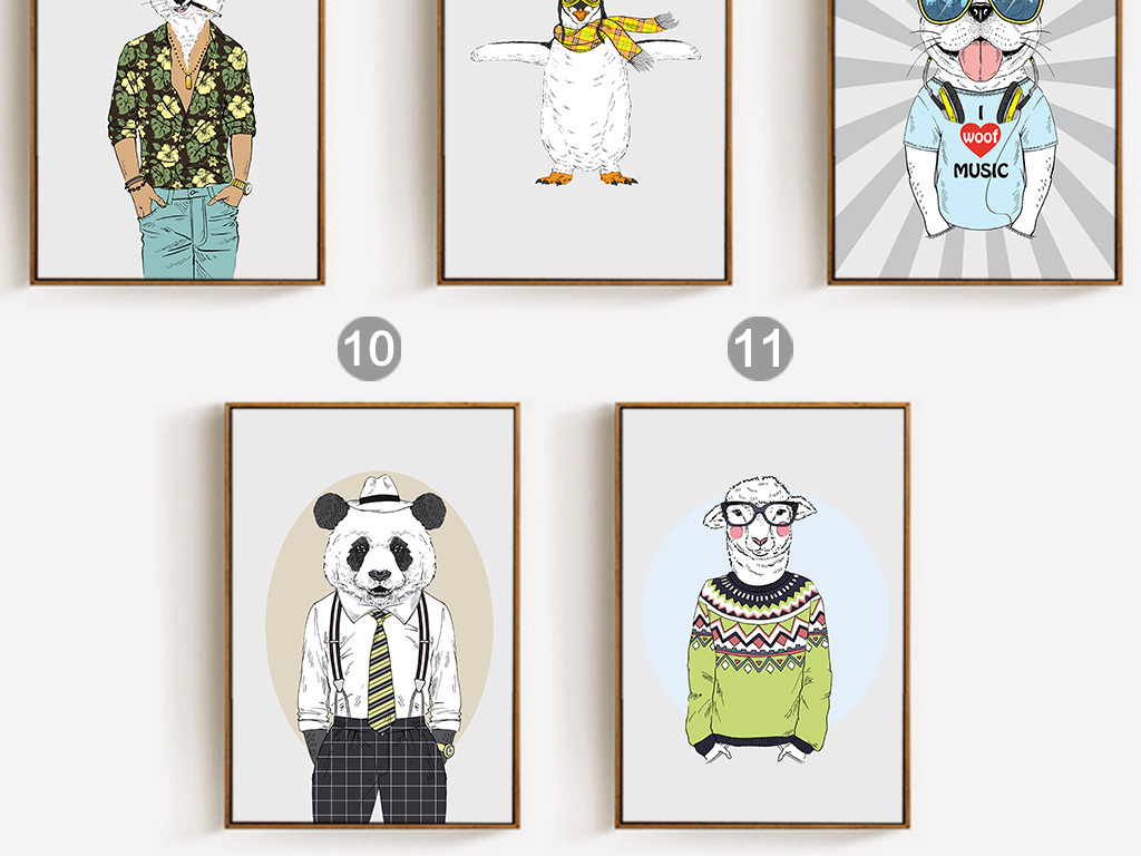 北欧简约美克美家时尚动物装饰画