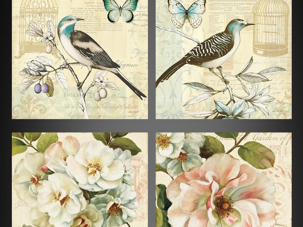 田园壁画复古花卉复古花鸟欧式复古