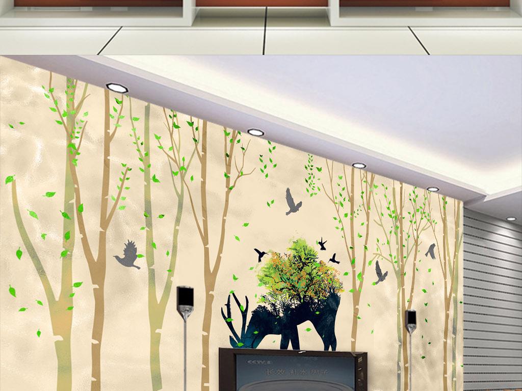 北欧风格壁画电视背景墙欧式墙纸图片